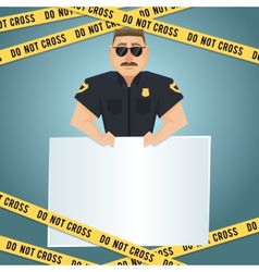 Policeman poster with yellow tape vector