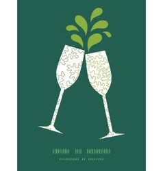 Curly doodle shapes toasting wine glasses vector