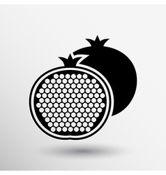 Pomegranate fruit slice whole black silhouette vector