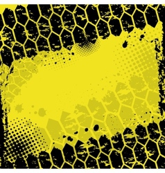 Grunge yellow tire track background vector