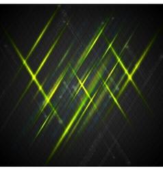 Green shiny light on dark background vector