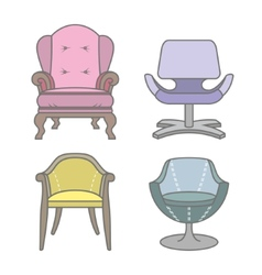 Set of colorfull armchairs vector