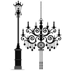 Black chandelier vector