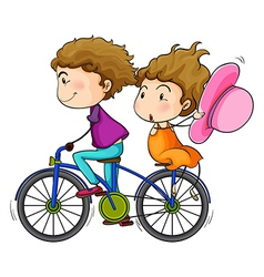 Lovers riding a bike vector