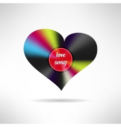 Vinyl heart shape love song vector