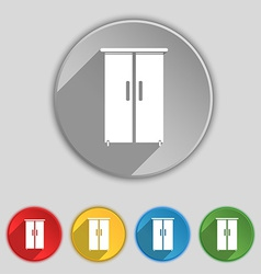 Cupboard icon sign symbol on five flat buttons vector