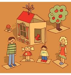 Cardboard family vector