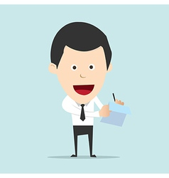 Cartoon business man write note and report vector