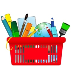 Shopping card with school supplies vector