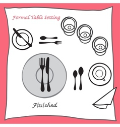 Finished dining table setting proper arrangement vector