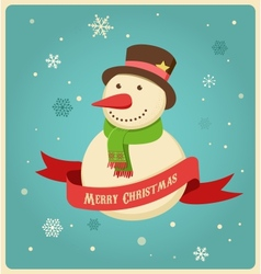 Christmas background with hipster snowman vector