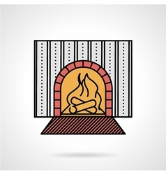 Fire place flat color icon vector
