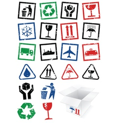 Set of packing symbol stamps vector