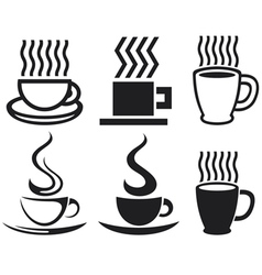 Set of coffee cup icons vector