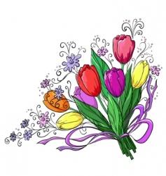 Flower tulips bouquet vector