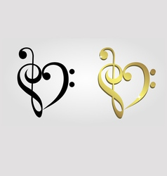 Heart formed of treble clef and bass clef vector