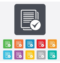 Text file sign icon check file document symbol vector