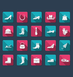 Shoes and accessories icons vector