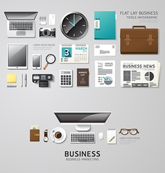 Infographic office tools flat lay idea hipster vector