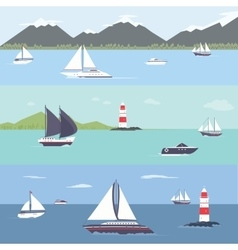 Ship traveling island landscape sailing vector