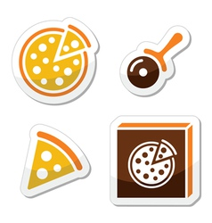 Pizza icons set isolated on white vector