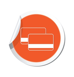 Credit cards icon orange label vector
