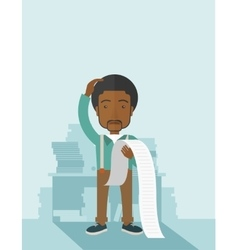 Sad african-american employee holding a list of vector
