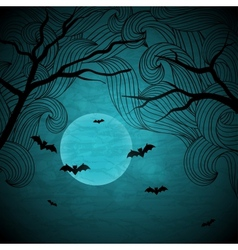 Halloween background with moon and bats vector