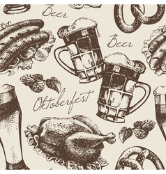 Hand drawn oktoberfest vintage seamless pattern vector