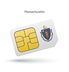 State of massachusetts phone sim card with flag vector