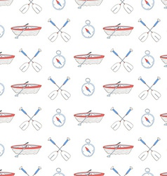 Seamless pattern with water sport equipment vector