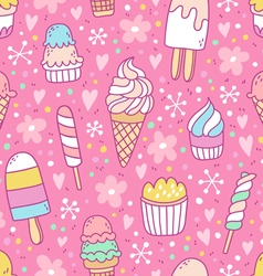 Yummy ice cream on pink background seamless vector