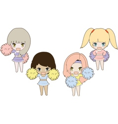 Four girls cheerleader vector