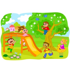 Happy kids playing in the countryside vector
