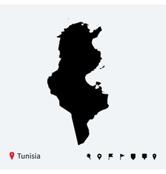 High detailed map of tunisia with navigation pins vector