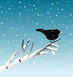 Winter with blackbird on branch vector