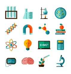 Science icons flat icons set vector