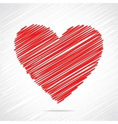 Red sketch heart design vector