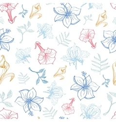 Exotic florals drawing seamless pattern vector