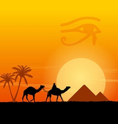 Egypt symbols and pyramids vector