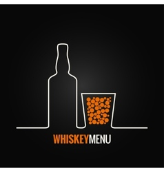 Whiskey glass bottle menu background vector