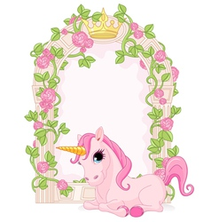 Fairy tale frame with unicorn vector