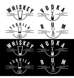 Whiskeyrumvodka and tequila vintage labels set vector