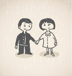 In loveboy and girl holding hands vector
