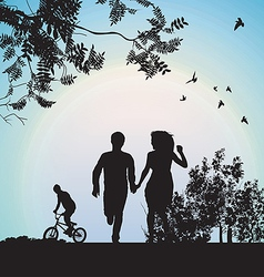 Boy and girl running through the park holding vector