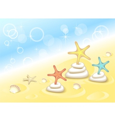 Background with starfishes dancing on the stones vector