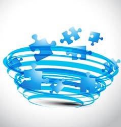 Puzzle design in blue color vector