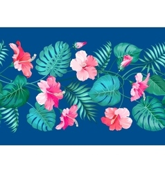 Floral linear tile design vector