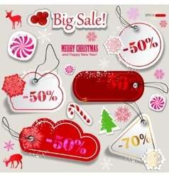 Christmas sale paper discount coupons vector