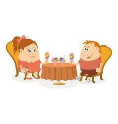 Children near table isolated vector